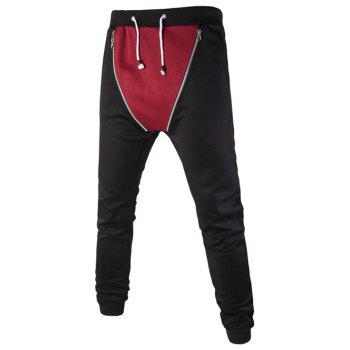 Double Zipper Color Splicing Slimming Narrow Feet Lace-Up Men's Jogger Pants