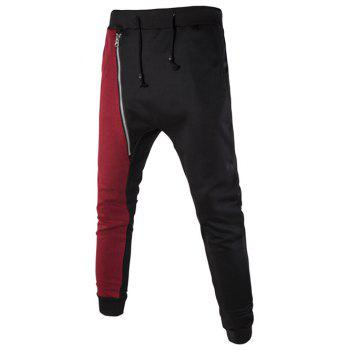 Asymmetric Color Spliced Zipper Embellished Narrow Feet Lace-Up Men's Jogger Pants