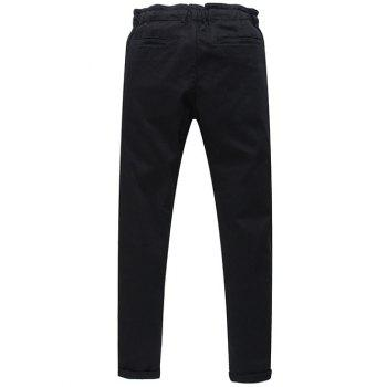 Fashion Mid-Rised Lace Up Solid Color Men's Pants - BLACK 31
