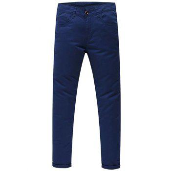 Casual Zip Fly Solid Color Pants