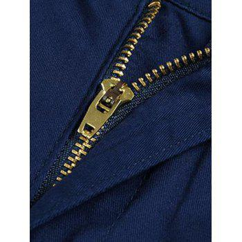 Casual Zip Fly Solid Color Pants - SAPPHIRE BLUE 32