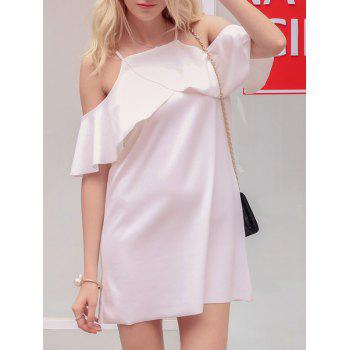 Sweet Spaghetti Strap Flounced Mini Dress