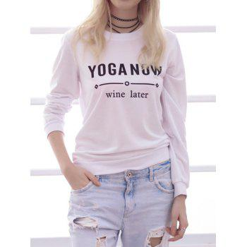 Simple Style Women's Long Sleeve Round Neck Letter Print Sweatshirt