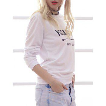 Simple Style Women's Long Sleeve Round Neck Letter Print Sweatshirt - WHITE L