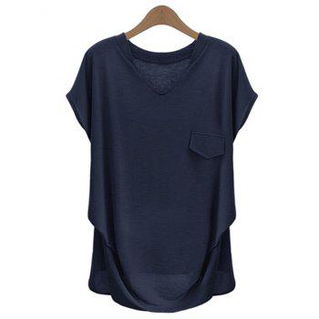 Fashionable Plus Size Solid Color V Neck T-Shirt For Women