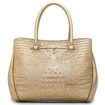 Fashion Embossing and Solid Color Design Women's Tote Bag - CHAMPAGNE GOLD