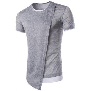 Asymmetric Top Fly Color Spliced Round Neck Short Sleeves Men's Slimming T-Shirt