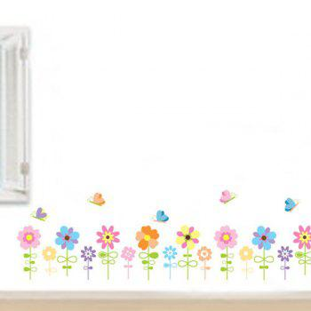 Sweet Cartoon Sunflowers and Butterfly Pattern Removeable Wall Stickers - COLORMIX