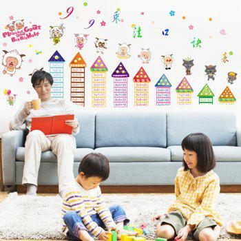 Stylish Cartoon and Multiplication Tables Pattern Removeable Wall Stickers For Children