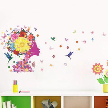 Chic Quality Colorful Flowers and Girl Pattern Removeable Wall Stickers - COLORMIX