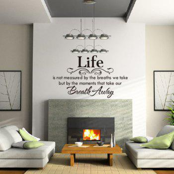 Fashionable English Poetry Pattern Removeable Wall Stickers - BLACK