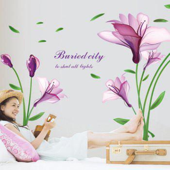 Fashion DIY Purple Mangnolia and Letters Pattern Wall Stickers For Home Decor