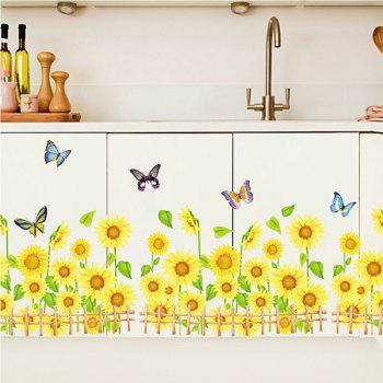 Fashionable Sunflower Pattern Removeable Wall Stickers For Home Decor - COLORMIX
