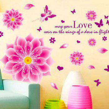 Elegant DIY Romantic Flowers Pattern Wall Stickers For Home Decor - PINK