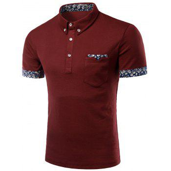 Flower Print Edging Turn-Down Collar Short Sleeve Button-Down Men's Polo T-Shirt