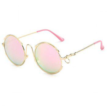 Fashion Circle Ring Round Frame Hipsters Sunglasses For Women - PINK PINK