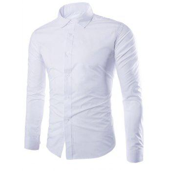 Turn-Down Collar Solid Color Slimming Long Sleeve Men's Shirt