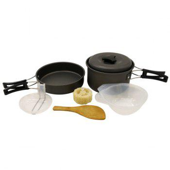 Set of High Quality 1-2 Person Outdoor Camping Cookware Frying Pan Aluminium Oxide Saucepan