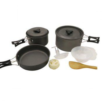 Set of High Quality 2-3 Person Outdoor Camping Picnic Cookware Frying Pan Aluminium Oxide Saucepan