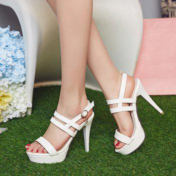 Trendy PU Leather and Stiletto Heel Design Women's Sandals - WHITE 38