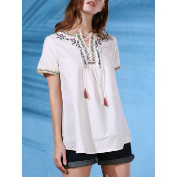 Stylish Round Neck Short Sleeve Embroidered Lace-Up Women's T-Shirt