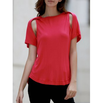 Casual Raglan Sleeve Hollow Out Women's T-Shirt
