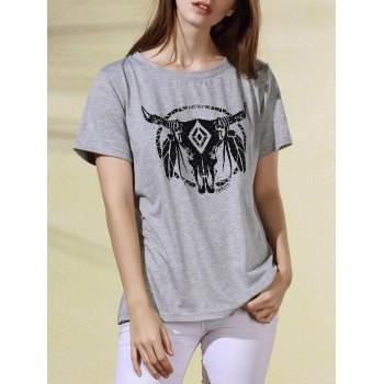 Trendy Round Collar Cartoon Print Short Sleeve T-Shirt For Women