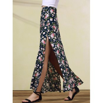 Trendy Rose Print High Slit Skirt For Women