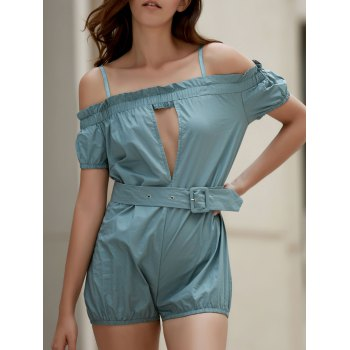 Stylish Cami Off The Shoulder Solid Color Women's Romper