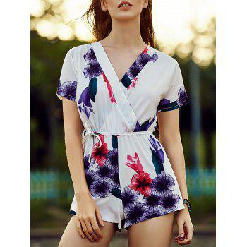 Stylish V Neck Short Sleeve Belted Violet Print Women's Romper