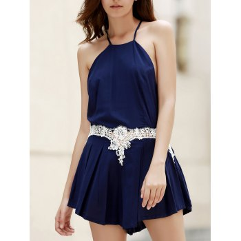 Fashion Sleeveless Combined Lace Pleated Women's Romper