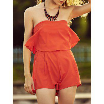 Stylish Strapless Solid Color Ruffles Women's Romper