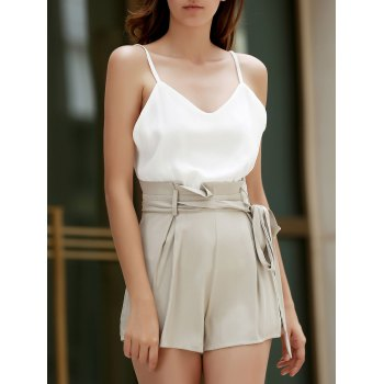 Trendy Spaghetti Strap Color Block High-Waisted Women's Playsuit