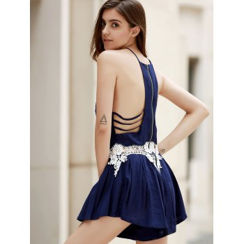Fashion Sleeveless Combined Lace Pleated Women's Romper - CADETBLUE S