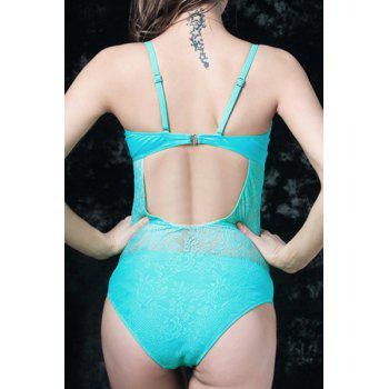 Graceful Spaghetti Strap Solid Color Lace Floral Hollow Out Women's Swimwear - BLUE 4XL