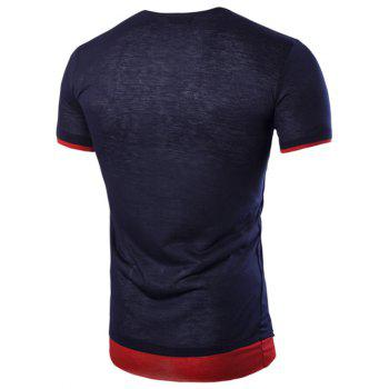 Asymmetric Top Fly Color Spliced Round Neck Short Sleeves Men's Slimming T-Shirt - CADETBLUE L