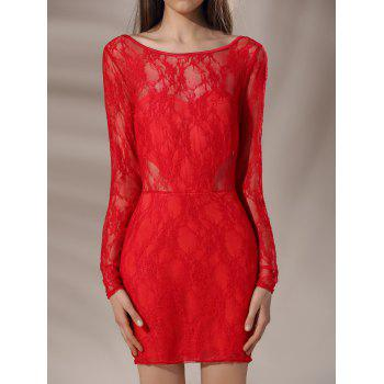 Chic Long Sleeve Round Collar Solid Color Backless Hollow Out Women's Dress - RED S
