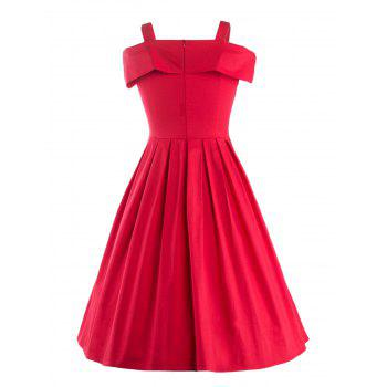 Vintage Bowknot Embellished Spaghetti Strap Women's Dress - RED M