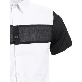 Vogue Shirt Collar White and Black Spliced Men's Short Sleeves Shirt - WHITE 3XL