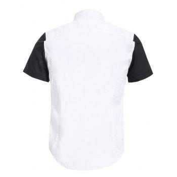 Vogue Shirt Collar White and Black Spliced Men's Short Sleeves Shirt - WHITE 2XL