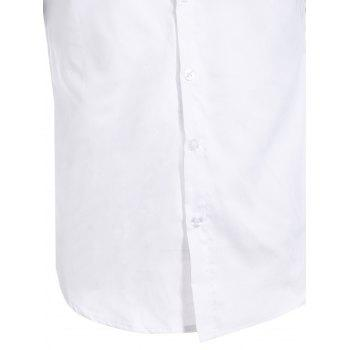 Vogue Shirt Collar White and Black Spliced Men's Short Sleeves Shirt - WHITE L