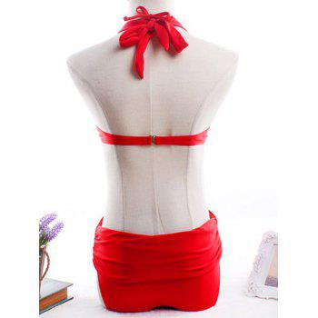 Stylish Women's Convertible Design Halter Neck Bikini Set - RED XL