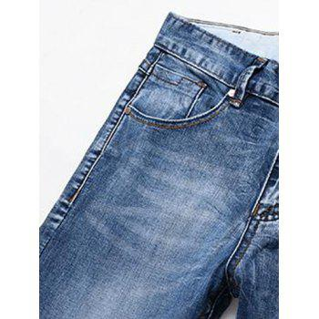 Men's Fashion Straight Legs Solid Color Zip Fly Cropped Jeans - BLUE 31