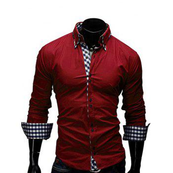Firstgrabber Turn-Down Collar Checked Splicing Design Long Sleeve Men's Shirt