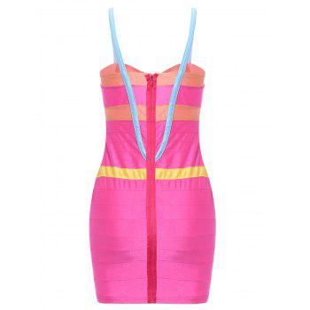 Charming Color Block Spaghetti Strap Bodycon Bandage Dress For Women - ROSE M