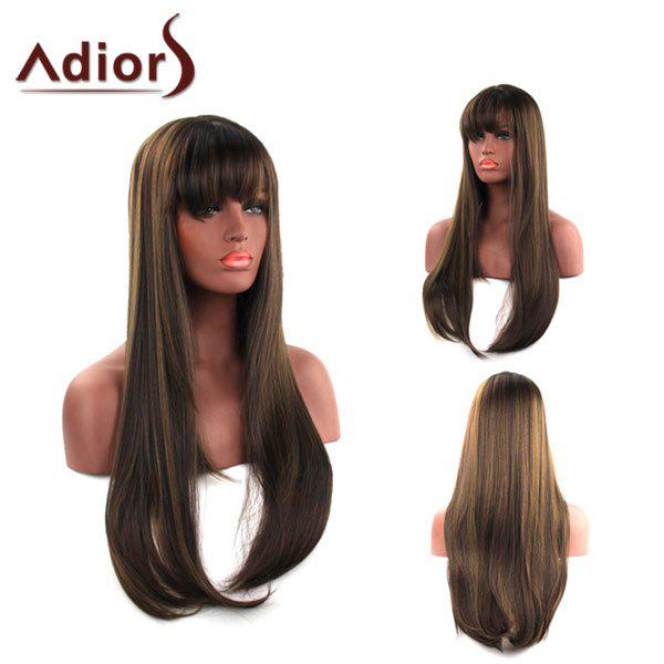 Elegant Capless Long Silky Straight Side Bang Light Brown Synthetic Adiors Wig For Women - LIGHT BROWN