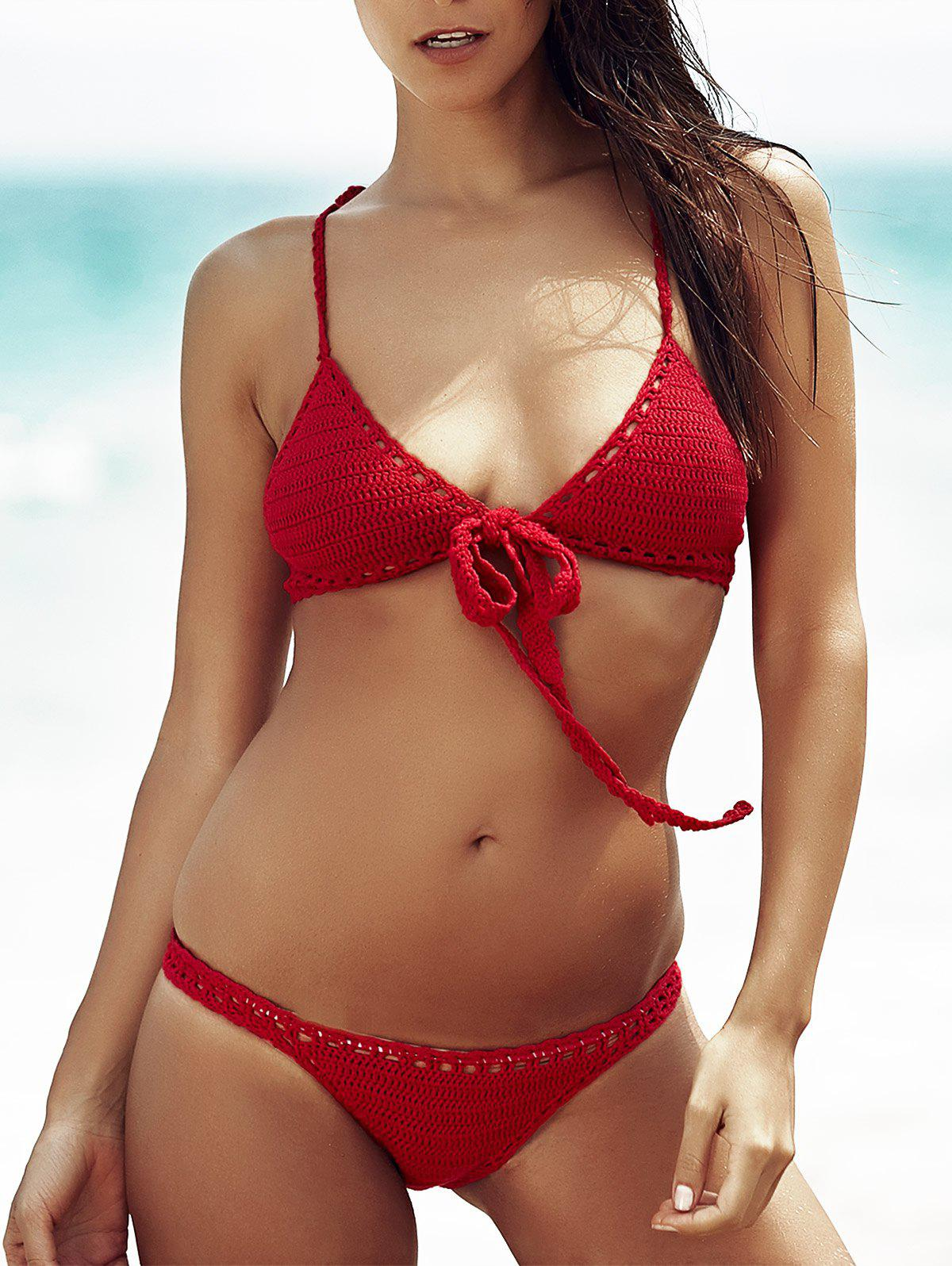 Trendy Wine Red Hollow Out Bikini For Women