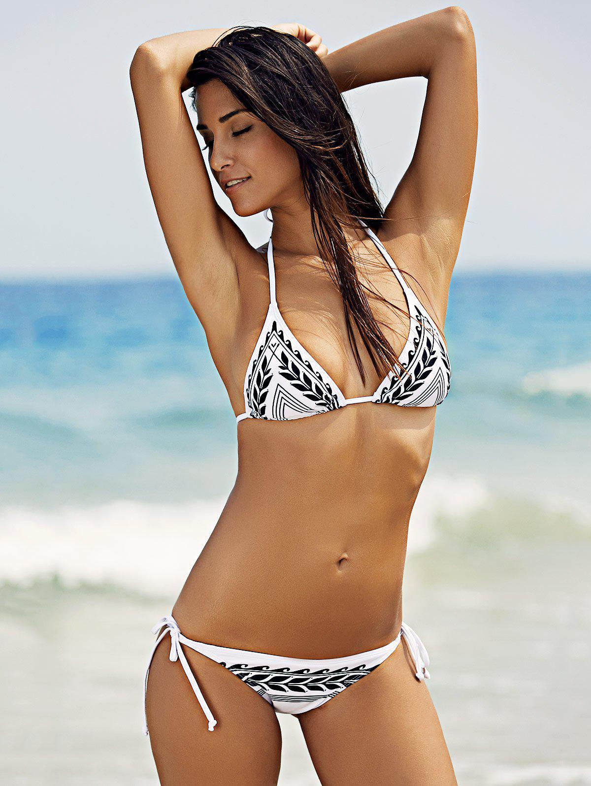 Stylish Women's Halter Print String Bikini Set - WHITE XL