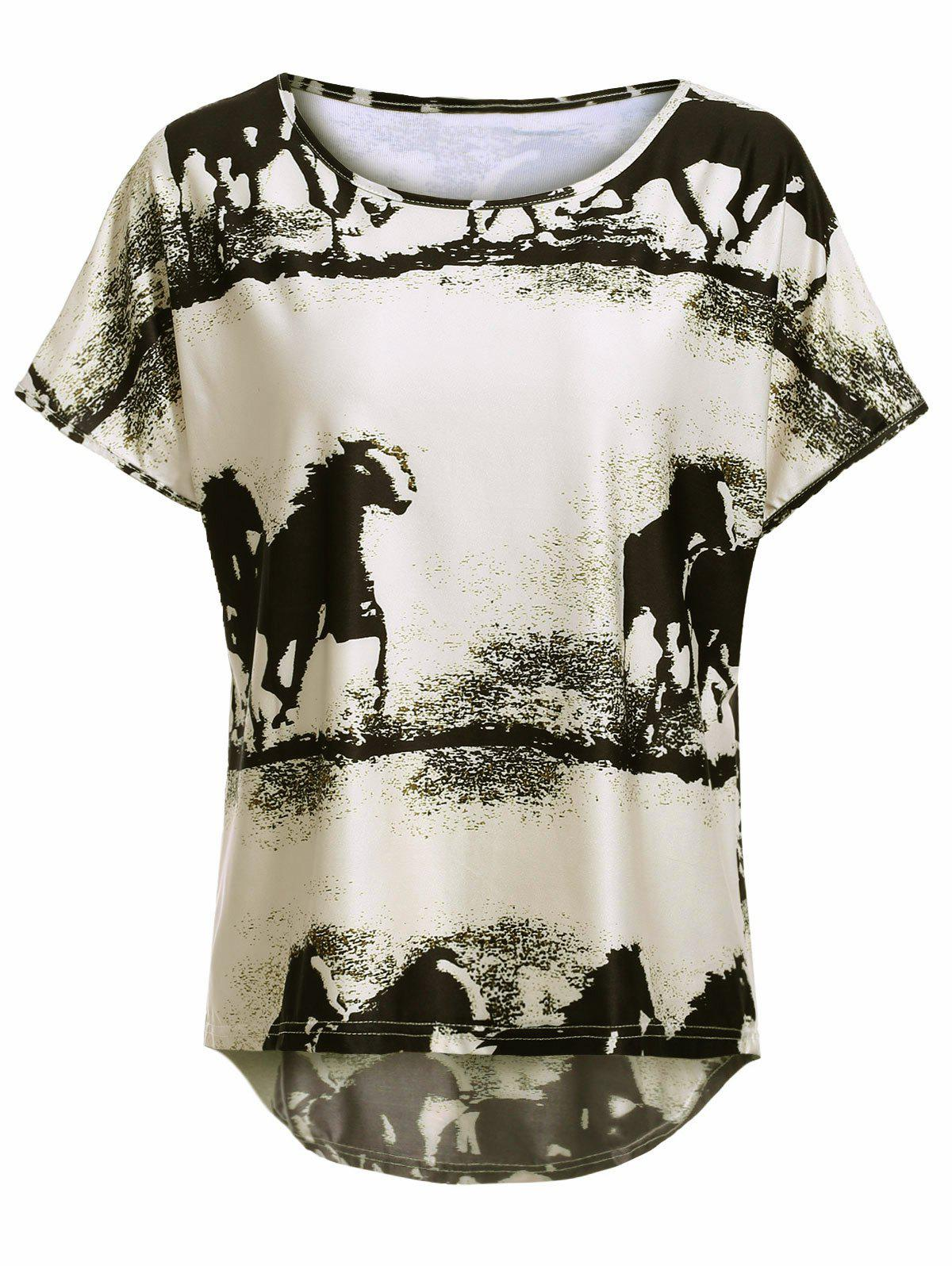 Style Plus Size Horse Pattern High Low T-Shirt - BEIGE 2XL
