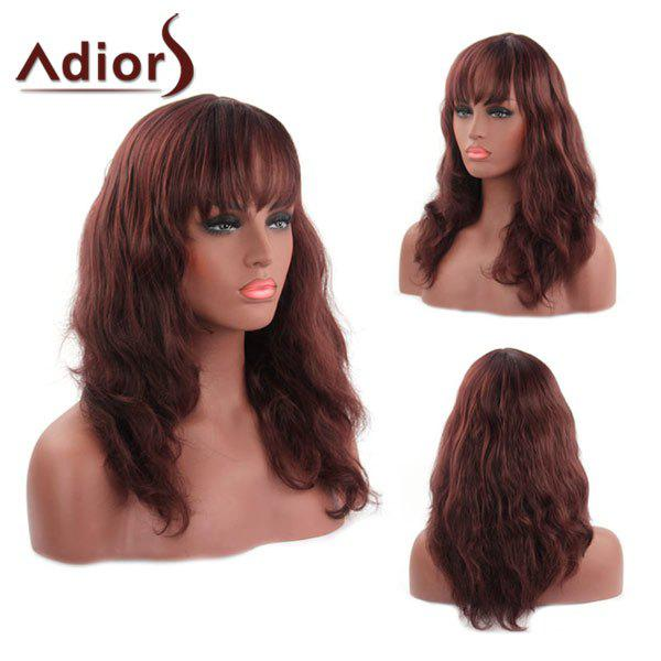 Vogue Little Wavy Fluffy Capless Full Bang Palm Red Synthetic Adiors Wig For Women - DARK AUBURN